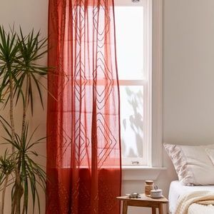 Urban Outfitters Pink Gauze Embroidered Curtain